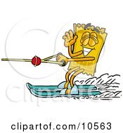 Clipart Picture Of A Yellow Admission Ticket Mascot Cartoon Character Waving While Water Skiing