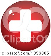 Royalty Free Vector Clip Art Illustration Of A Shiny Red And White Medical Cross Circle
