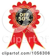Royalty Free Vector Clip Art Illustration Of A Red And Gold 50 Percent Off Discount Rosette Ribbon by Andrei Marincas