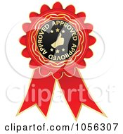 Royalty Free Vector Clip Art Illustration Of A Red And Gold Approved Guarantee Rosette Ribbon by Andrei Marincas