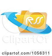 Royalty Free Vector Clip Art Illustration Of A 3d Arrow Around A Yellow Rss Folder 2