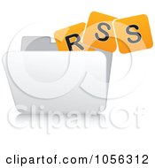 Royalty Free Vector Clip Art Illustration Of A White 3d Rss Folder 1