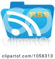 Royalty Free Vector Clip Art Illustration Of A Blue 3d Rss Folder
