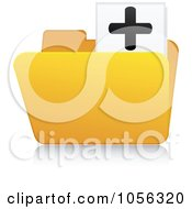 Royalty Free Vector Clip Art Illustration Of A Yellow 3d Add Folder And Reflection