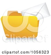 Royalty Free Vector Clip Art Illustration Of A Yellow 3d Email Folder And Reflection 1