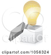 Royalty Free Vector Clip Art Illustration Of A Golden Halftone Lightbulb In A 3d Open Box by Andrei Marincas