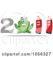 Royalty Free Vector Clip Art Illustration Of A Happy Frog And Two Pencils In 2011 by Andrei Marincas