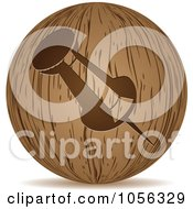 Royalty Free Vector Clip Art Illustration Of A 3d Wooden Push Pin Sphere Icon