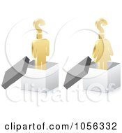 Royalty Free Vector Clip Art Illustration Of A Digital Collage Of 3d Golden People With Questions In Boxes