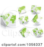 Royalty Free Vector Clip Art Illustration Of A Digital Collage Of 3d Cubes With Green Maps by Andrei Marincas