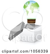Royalty Free Vector Clip Art Illustration Of An Atlas Lightbulb In A 3d Open Box by Andrei Marincas