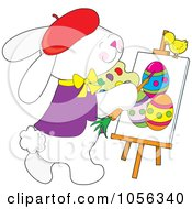 Royalty Free Vector Clip Art Illustration Of A Chick Watching A Creative Easter Bunny Painting Eggs On Canvas by Maria Bell
