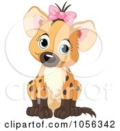 Royalty Free Vector Clip Art Illustration Of An Adorable Baby Girl Hyena Wearing A Bow And Sitting