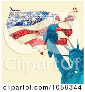 Royalty Free Vector Clip Art Illustration Of A Statue Of Liberty Holding The Torch Over A Grungy American Map