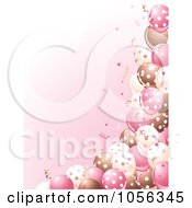 Girls Birthday Party Background Of Brown Pink And White Balloons And Confetti On Pink