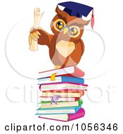 Royalty Free Vector Clip Art Illustration Of A Professor Owl Holding A Diploma On A Stack Of Books by Pushkin