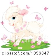Poster, Art Print Of Cute Baby Spring Time Lamb With Flowers And Pink Butterflies