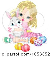 Cute Blond Girl Hugging A Bunny And Sitting By Easter Eggs