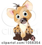 Royalty-Free Vector Clip Art Illustration of an Adorable Baby Boy Hyena Sitting by Pushkin