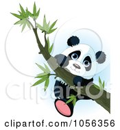 Royalty Free Vector Clip Art Illustration Of A Cute Baby Panda Climbing A Tree Branch