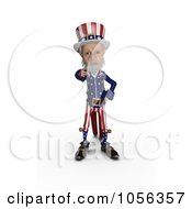 Royalty Free CGI Clip Art Illustration Of A 3d Uncle Sam Standing And Pointing Outwards by Michael Schmeling