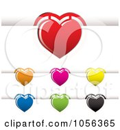 Royalty Free Vector Clip Art Illustration Of A Digital Collage Of Heart Book Marks by michaeltravers