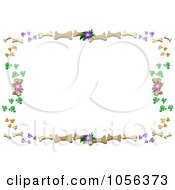 Frame Of Dog Bones Paw Prints And Flowers