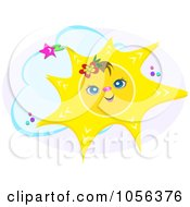 Royalty Free Vector Clip Art Illustration Of A Cheerful Sun Wearing A Flower Over A Cloud And Gray Oval by bpearth