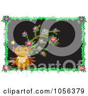 Royalty Free Vector Clip Art Illustration Of An Owl With A Flowering Tree In A Floral Frame by bpearth