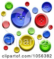 Royalty Free Vector Clip Art Illustration Of A Background Of Colorful Sewing Buttons by Oligo #COLLC1056382-0124
