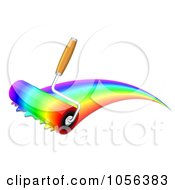 Royalty Free Vector Clip Art Illustration Of A Paint Roller Painting Rainbow Colors by Oligo #COLLC1056383-0124