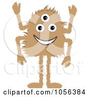 Royalty Free Vector Clip Art Illustration Of A Hairy Brown Three Eyed Monster