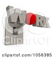 Royalty Free CGI Clip Art Illustration Of A 3d WORK Switch