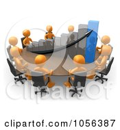 Royalty Free CGI Clip Art Illustration Of 3d Orange People Discussing A Bar Graph At A Meeting Table