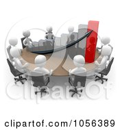 Royalty Free CGI Clip Art Illustration Of 3d White People Discussing A Bar Graph At A Meeting Table