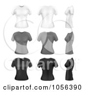 Digital Collage Of White Gray And Black Womens T Shirts