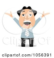 Royalty Free Vector Clip Art Illustration Of A Cheerful Businessman Raising His Arms