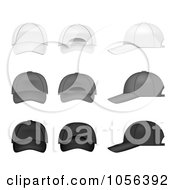 Royalty Free Vector Clip Art Illustration Of A Digital Collage Of White Gray And Black Baseball Caps
