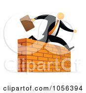 Royalty Free Vector Clip Art Illustration Of An Orange Faceless Businessman Leaping Over A Brick Wall Obstacle
