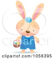 Royalty Free Vector Clip Art Illustration Of A Boy Bunny Hunting For Easter Eggs by Qiun
