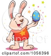 Royalty Free Vector Clip Art Illustration Of A Cartoon Bunny Holding A Blue Easter Egg With Stars by Qiun