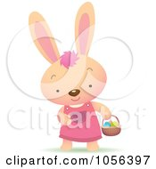 Royalty Free Vector Clip Art Illustration Of A Girl Bunny Hunting For Easter Eggs by Qiun