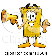 Clipart Picture Of A Yellow Admission Ticket Mascot Cartoon Character Holding A Megaphone