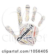 Royalty Free CGI Clip Art Illustration Of A Hand Shaped Chernobyl Disaster Word Collage by MacX
