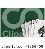 Royalty Free CGI Clip Art Illustration Of 3d Ace And A King Cards On Felt