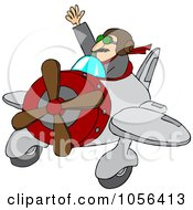 Royalty Free Vector Clip Art Illustration Of A Waving Pilot Flying His Plane by djart