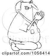 Royalty Free Vector Clip Art Illustration Of A Coloring Page Outline Of A Man Kneeling And Praying