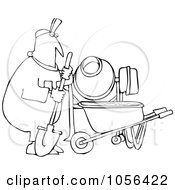 Royalty Free Vector Clip Art Illustration Of A Coloring Page Outline Of A Worker Man Mixing Cement