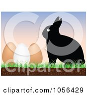 Royalty Free Vector Clip Art Illustration Of A Black Easter Bunny With Eggs At Sunrise by Andrei Marincas