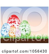 Royalty Free Vector Clip Art Illustration Of A Starry Easter Eggs At Sunrise by Andrei Marincas